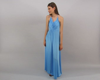 Vintage 70s Halter Disco Dress, Maxi Dress, Liquid Jersey Halter Dress, Boho Dress Δ size: sm