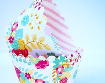 Floral | Pink Stripe Cupcake Wrappers