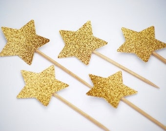 Gold Star Cupcake Toppers | Twinkle Twinkle Little Star Party