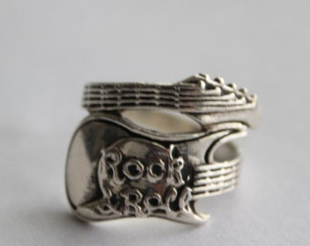Sterling Silver Electric Guitar Ring Rock & Roll Size 7 1/2