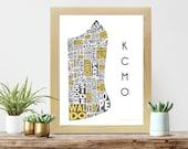 Kansas City Print   Neighborhood Map   Typography Poster   KCMO   Kansas City Neighborhoods   Yellow and Gray   Fun Colors