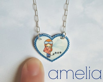 Amelia Earhart Necklace | Cute Watercolor Jewelry | Simple Illustration | Kansas | Atchison | Heart Charm