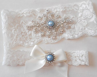 Wedding Garter Set Ivory or White Stretch Lace Bridal Garter Set With Classic Blue Pearl Crystal and Rhinestone Setting Garter Set.