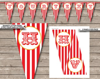 Carnival Party Banner - Circus Party - Happy Birthday Banner - Custom Banner - Party Decorations - INSTANT DOWNLOAD with EDITABLE text