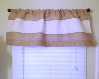 Modern Burlap Valance Rustic Chic Home Decor Burlap Curtain Burlap Window Treatment Coastal Decor Custom Size Available Farmhouse Curtains