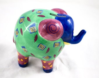 Vintage Hand Painted Ceramic Elephant Coin Bank