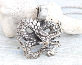 Silver Dragon Necklace - Vintage Pewter Pendant on Chain