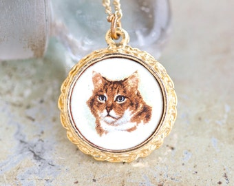 Ginger Cat Necklace - Kitten Cameo Pendant on Chain