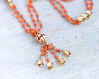 Orange Boho Necklace - Indian Summer Beaded Tassel