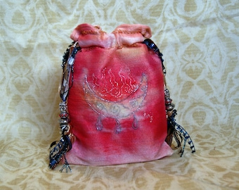 Made to Order, Dye Painted Tarot Pouch, Blessing Moon, Water Moon, , Divination Tools, Water Element, Silk Lined bag, Handmade Bag,