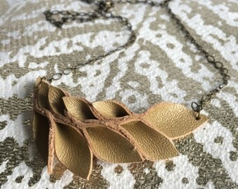 Camel Origami Leather Necklace//Petals//Small