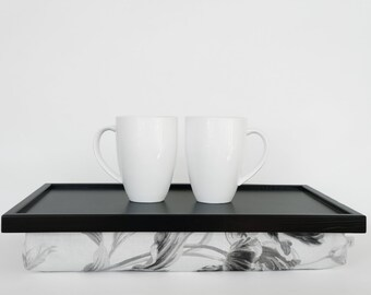 Breakfasts in bed tray. Lapdesk with pillow-  black tray, off white with black and white flower pattern pillow- L or XL size