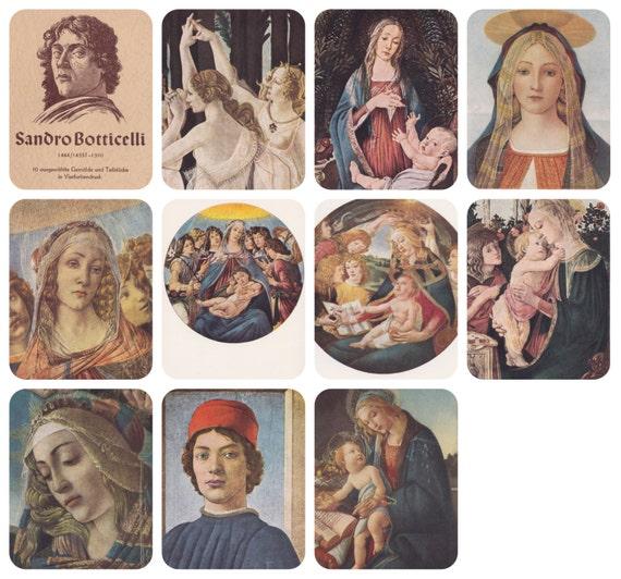 Sandro Boticelli. Complete Set of 10 Vintage German Postcards in original cover -- 1956