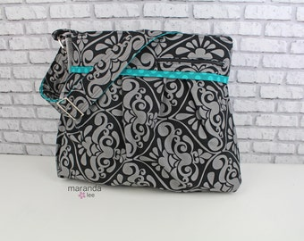 Stella DELUXE Diaper Bag Set - Large Grey Black Damask with Teal Dot Accent-READY to SHIP Attaches to Stroller