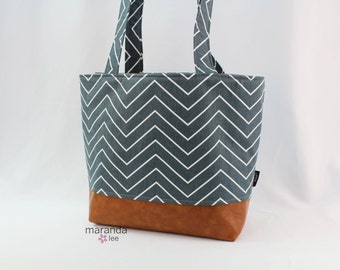 Lulu Large Tote Diaper Bag  Steel Grey Chevron and PU Leather with Grey Lining   6 pockets Nappy Bag