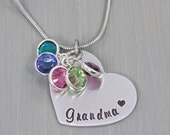 Hand Stamped Necklace - Personalized Jewelry - Personalized Necklace - Grandmother/ Mom Necklace - Christmas Gift for Grandma - Gift for Her