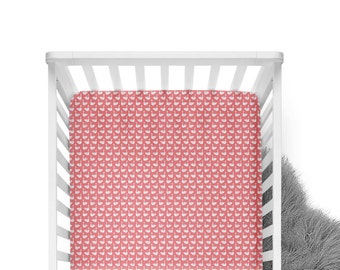 Fitted Crib Sheet Swans - Pink Crib Sheet- Swan Crib Sheet- Baby Bedding- Coral Crib Bedding- Organic Sheet-Soft Minky Sheet