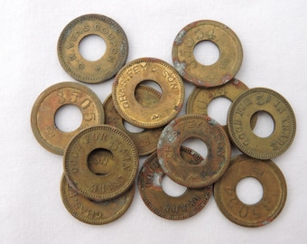 Antique Lot of 12 Brass Slot Machine Trade Tokens - 5 cent Merchant Trade Tokens - Trade Stimulator Tokens