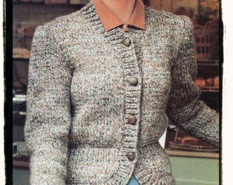 Instant Download PDF Knitting Pattern to make a Womens Spencer Slim Fit Waisted Cardigan Jacket in 3 to fit Sizes 32 to 38 inch bust