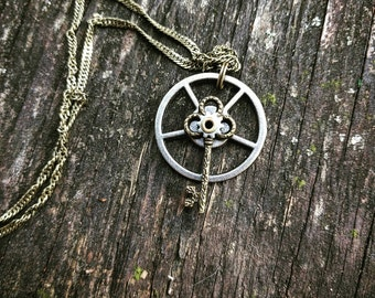 Antiqued Neo-Victorian Handmade Ooak Unique Riveted Brass Skeleton Key Necklace