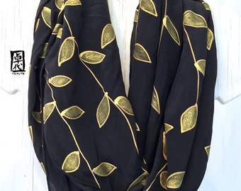 Handpainted Silk Infinity Scarf, ETSY, Gift for Women Scarf, Black and Gold Japanese Leaves Scarf, 14x72 inches loop. Made to order