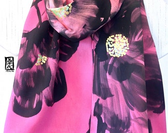 Silk Scarf Handpainted, Pink and Black Scarf, Japanese Peonies Scarf, Ombre Scarf, Pink Silk Scarf, Silk Scarves Takuyo, 15x60 in