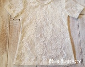 Short Sleeve Stretch lace top size 12 month to girls size14....Choose your color...