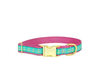 Personalized Collar, Nautical Dog Collar in Teal and Gold Anchors