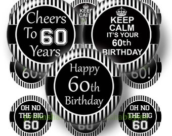 60th Birthday, Printable, Digital Collage Sheet, Bottle Cap Images, 1 Inch Circle, Instant Download, Cabochons, Cupcake Toppers BS-1