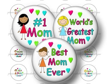 """Mom, 1.313"""" Circles, Digital Collage Sheet, 1 inch Button Machine, Instant Download, Button, Magnets, Pins, Badges, Flat Back No.1w"""