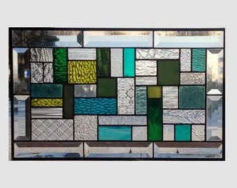 Bevel Stained glass panel window hanging geometric stained glass window panel green clear suncatcher modern 0100 18 1/4 x 11 1/4