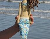 Rag doll Mermaid doll handmade fabric doll sea green turquoise softie plush cloth doll art doll mermaid - room decor doll, baby shower gift