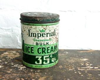 Antique Ice Cream Tin 1940s Green Advertising Can Imperial Vanilla 1 Quart Lid Primitive Kitchen Decor