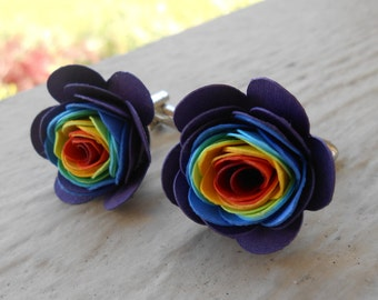 Rainbow Paper Flower Cufflinks. Or CHOOSE YOUR COLORS!  Wedding, Men's Christmas Gift, Dad. Silver Plated.