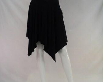 Black bamboo short skirt with asymmetrical hemline.