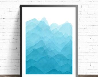 Abstract Mountain Print. Abstract watercolor print. Nature art print. Modern Art print. Modern home decor wall poters. Living room wall art