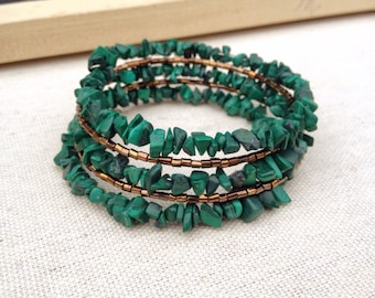 Green malachite and gold memory wire bracelet ~ One of a kind jewelry