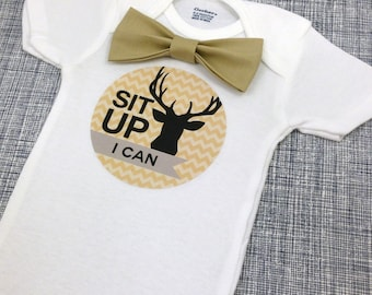 Baby Bow Tie Onesie®, Baby Bowtie Onesie®, Monthly Onesie®, Monthly Baby Stickers Boy, Baby Month Stickers Boy, Woodland, Antlers, Tan Biege