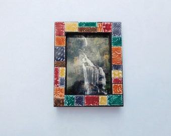 """Polymer Clay Tiled Mosaic Picture Frame, 2-1/4"""" x 3-1/8"""" small photo frame"""