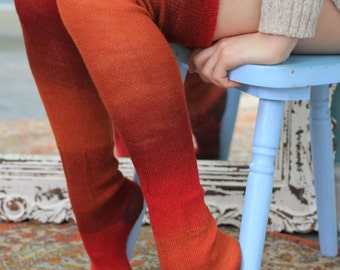 Thigh High stockings - Victorian Steampunk Edwardian OVER THE KNEE -rust and red - merino - bleeding colours