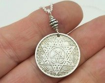 MOROCCO SILVER COIN Necklace - vintage 1953 Morocco silver coin pendant - Bohemian necklace - star necklace - Moroccan - pentagram necklace