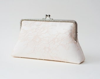 Soft Blush Bridal Clutch / Bridesmaid Clutch Purse / Personalized Clutch / Wedding Lace Clutch / Shappy Chic Vintage inspired