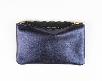 MAE Metallic Blue Leather Pouch. Navy Blue Leather Pouch. Dark Blue Leather Clutch. Blue Leather Wallet