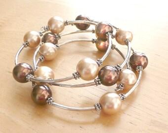 Pearl Wrap Bracelet Beaded Brown & Cream Color Retro