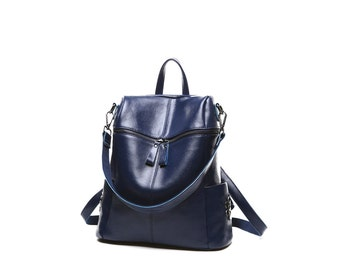 Blue genuine leather backpack / blue leather rucksack / blue leather book bag / blue backpack