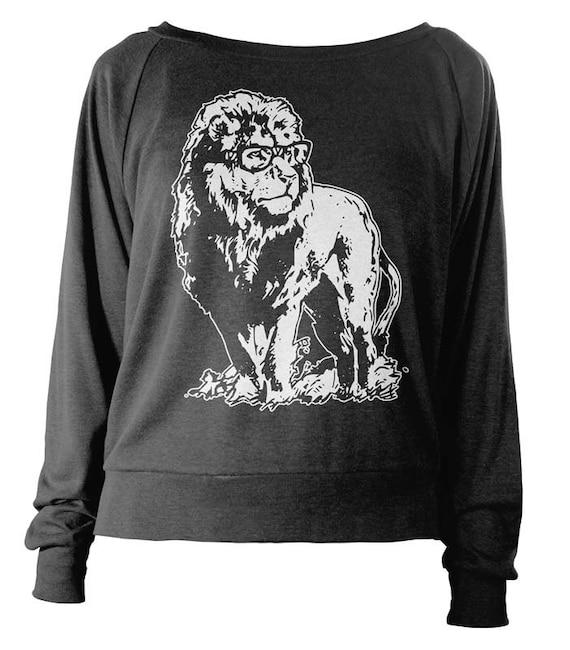 Womens Longsleeve Lightweight Pullover - Albert Lionstein Sweater - Nerdy Lion Sweatshirt - American Apparel Raglan