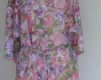 Vintage Sheer Robe Dressing Gown Floral Burnout