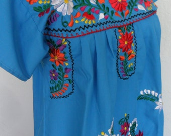 Vintage Mexican Embroidered Ethnic Peasant Dress Floral