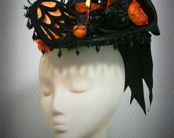 Women's Victorian Edwardian Halloween Candle Hat: Little Pumpkin