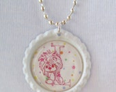 Necklace/Girls Jewelry/Precious Moments Initial Bottle Cap Necklace/Silver Ball Chain/White/Light Pink/Lilac